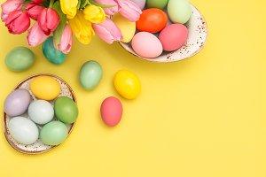 Easter eggs decoration spring tulip