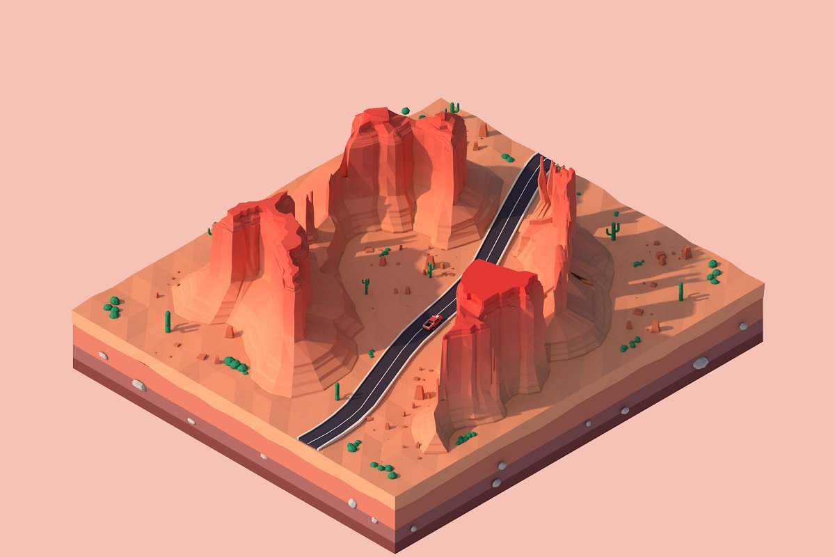 Cartoon Low Poly Monument Valley
