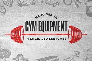 Gym equipment hand drawn sketches