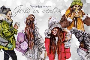 Girls in winter, girls clipart