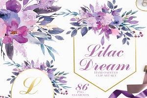 Lilac Dream - Watercolor Clip Art
