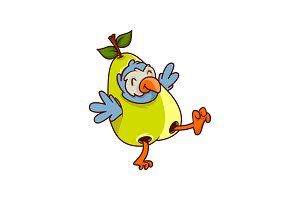 Funny tropical bird dressed in pear