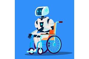 Broken Robot Moving In Wheelchair