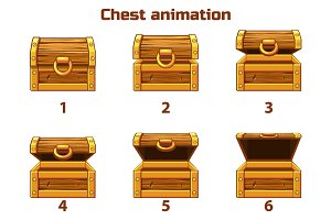 Animation step by step wooden chest