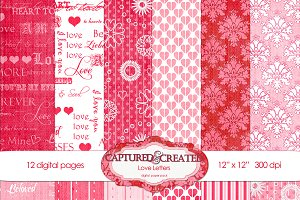 Love Letters Digital Paper Pack 12
