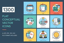 1300 Flat Conceptual Vector Icons by  in Icons