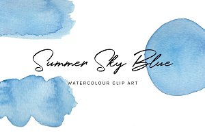 Sky Blue: Watercolour Clip Art