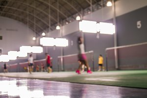 Defocus badminton playing