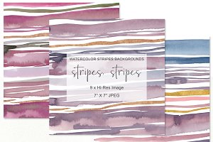 "Watercolor Stripes Background 7""x7"""