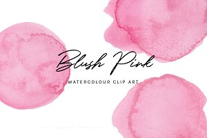 Blush Pink: Watercolour Clip Art