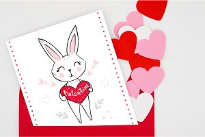 Happy Valentine's Day. Cute bunnies