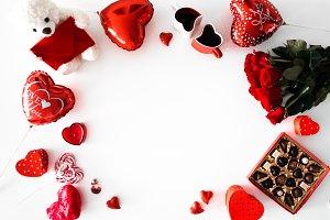Flatlay Valentine's Day Objects Hero