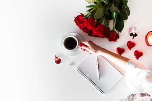Valentine's Day Woman with Coffee