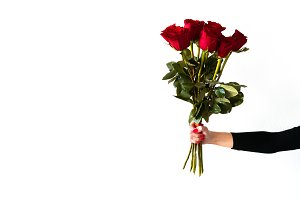 Woman Hand Holding Bouquet of Roses