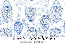 "Chinoiserie ""Vases"" - Seamless"