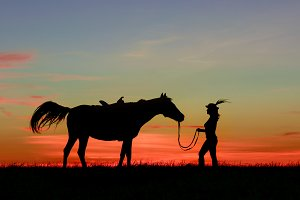 Woman in hat feather walk with horse