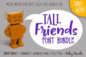 BillyBot Font Bundle 5-Tall Friends!