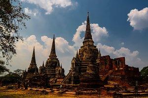 View to Wat Mahathat temple ruin, Ay