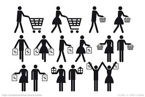 Shopping icons, vector set