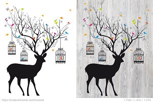 Deer with birds and birdcages vector