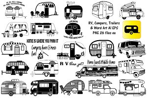 RV Campers Trailers AI EPS PNG