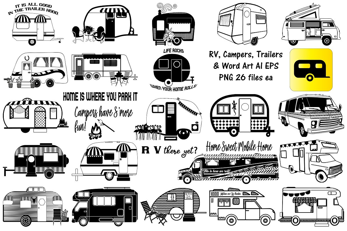 RV Campers Trailers AI EPS PNG ~ Illustrations ~ Creative Market on rv trailer clip art, in an rv traveling clip art, rv camping clip art, rv cartoon clip art, rv and boat clip art,