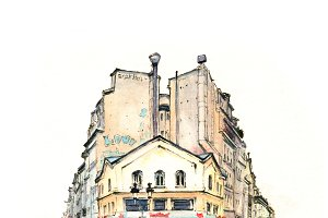 Typical Parisian house, France