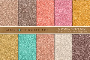 Digital Paper-Glitter-Chocolate...