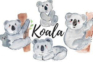 Watercolor animal koala clipart