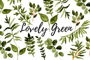 Watercolor greenery floral clipart