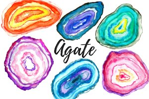 Watercolor agate mineral clipart