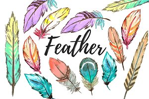 Watercolor bohemian feather clipart