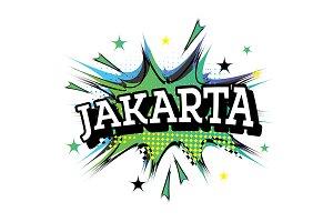 Jakarta Comic Text in Pop Art Style.
