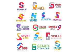 Business icons, letter S