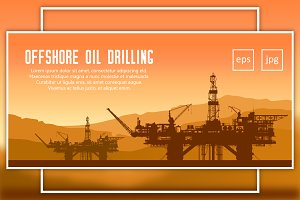 Offshore oil rigs in the sea. Vector