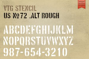 Vtg Stencil US No. 72 - Alt Rough