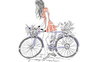 Cute girl riding bike. Bicycle