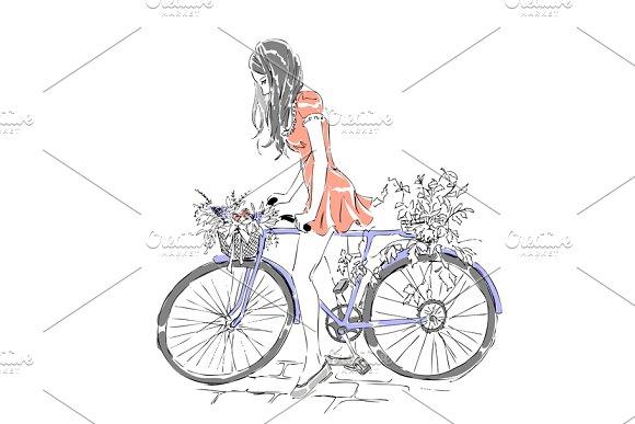 Cute Girl Riding Bike Bicycle Illustrations Creative Market