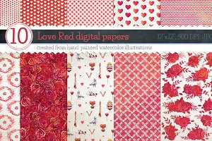 Love Red Patterns - digital papers