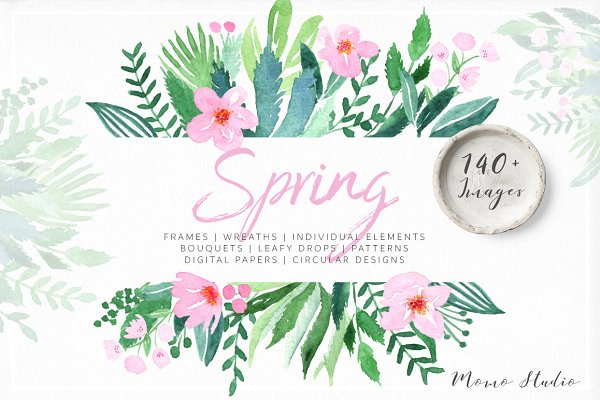 Illustrations: Momo Studio - Spring Watercolor Florals & Leaves