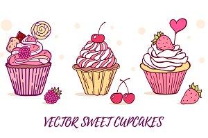 Three sweet cupcakes