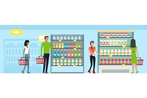 Shopping in Supermarket Vector in