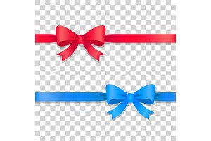 Blue and Red Ribbons with Bows
