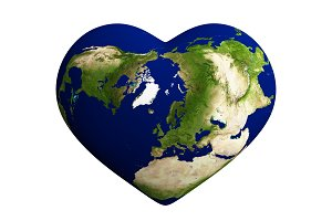 Heart shaped earth with world map is