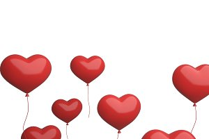 Red heart balloons flying isolated o
