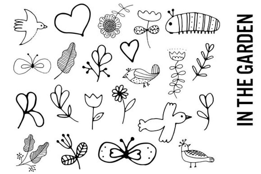 Garden Line Drawing Doodles Custom Designed Illustrations
