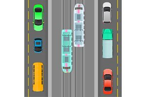 City Traffic on Top View Flat Vector