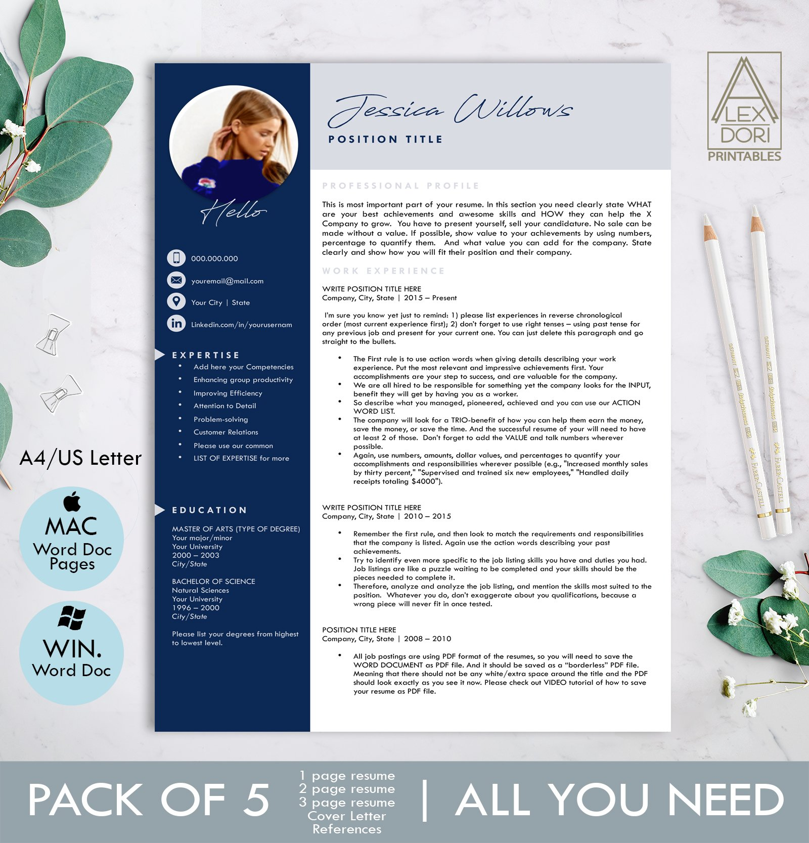 Modern Resume Template With Photo Creative Photoshop Templates