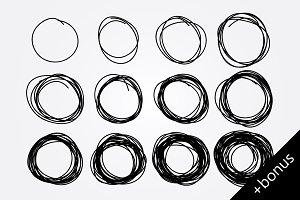 hand drawn doodle circles + bonus