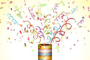 Colorful Party Popper With Confetti.
